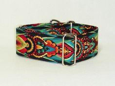 2 Inch Martingale Collar, Colorful Byzantine Design, Sighthound Collar, Galgo Collar, Whippet Collar, Greyhound Martingale