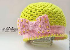 """Купить Шапочка для девочки """"Незрелый лимончик"""" - разноцветный, однотонный, шапка вязаная, шапочка для девочки"""