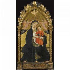 Giovanni di Marco, Giovanni dal Ponte chiamato scaduta (Firenze 1385 - 1437/8),  Madonna col Bambino affiancata da due angeli .  Foto Sotheby