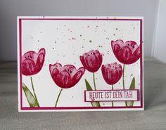 Stampin Up Karte mit Tulpen, Tranquil Tulips , Gastgeberinnenset Stampin Up, Gratis Stempelset , Two Step Technik, Stampin Up Glückwunschkarte,