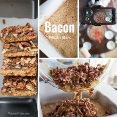 Bacon Pecan Bars! Easy to make with your kids. A perfect sweet and salty treat.  Make the recipe today!