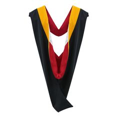 """Our premiere quality Premium Masters Hood is made from the same well-crafted fabric we use for our gowns and matches perfectly to our premium Masters robe. Each hood features a jet black shell crafted from our matte fabric with a specialty finish. A 3.5"""" wide band of colorful velvet embellishes the hood; the color you indicate will depend on the field of study selected by each Masters graduate."""