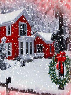 the wreath - Winter & Christmas - Holiday Christmas Scenes, Noel Christmas, Country Christmas, Christmas Pictures, Winter Christmas, Vintage Christmas, Winter Snow, Xmas, Christmas Greetings