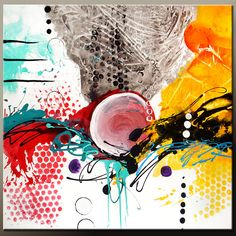 Abstract Canvas Art Painting HUGE 48x48 Contemporary By Wostudios