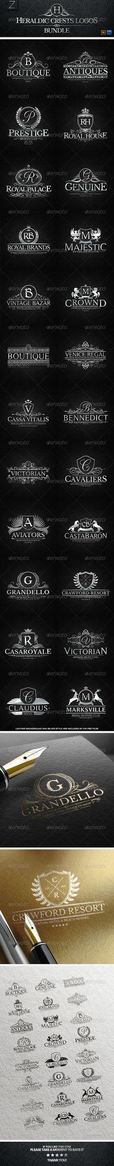24 Heraldic Crest Logos Bundle - Badges & Stickers Web Elements