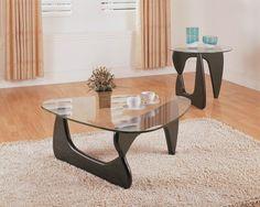 Chorus Black Wood Glass Coffee Table Set