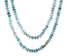 Lena Skadegard Long Aquamarine and Gold Bead Necklace
