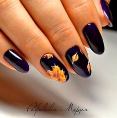 Easy Nail Art Designs for Women 2018 Fall Gel Nails, Cute Nails For Fall, Fall Acrylic Nails, Autumn Nails, Nail Art For Fall, Nails Design Autumn, Fall Nail Art Autumn, Plain Acrylic Nails, Shellac Nails