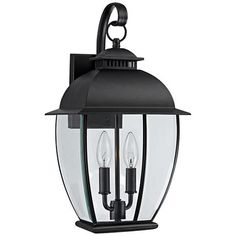 Quoizel Bain Mystic Black Medium Outdoor Wall Lantern - #3T141 | LampsPlus.com