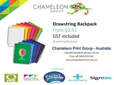 Drawstring Backpack - Chameleon Print Group - Australia	  http://chameleonprint.com.au/product/drawstring-backpack/