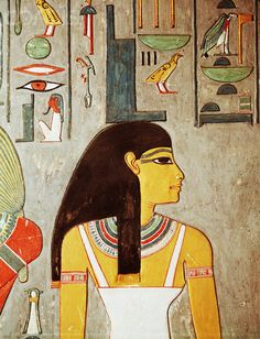 Mural Painting of the Goddess Isis.  She is usually depicted as a golden / amber / yellowish color.