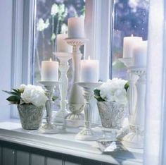 Window sill decoration - stylish decoration ideas for the window sill-Fensterbank Deko – Stilvolle Deko Ideen für die Fensterbank beautiful living ideas window sill decoration candles plants - Window Sill Decor, Room Window, Balcony Window, Window Ideas, Diy Décoration, Diy Candles, Scented Candles, Luxury Candles, White Candles