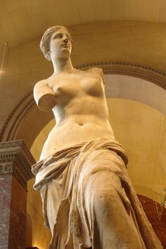 "Aphrodite of Milos, better known as the Venus de Milo, is an ancient Greek statue and one of the most famous works of ancient Greek sculpture. ""Venus de Milo"" By Alexandros of Antioch, Louvre."
