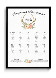 Deer Antlers and Flowers in Watercolour Poster