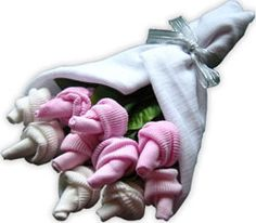 baby sock roses DIY idea baby shower