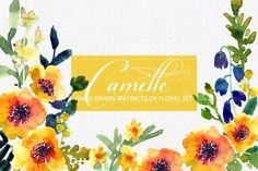 Camille- Watercolor Clip Art Set by SmallHouseBigPony on @creativemarket