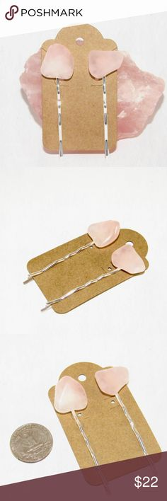 Wedding pink jewelry Rose Quartz Hair Pins This listing is for (2) rose quartz crystal hair pins.  Perfect for holding bangs in place, adding into braids or wearing with an updo for brides or bridesmaids. A truly unique piece to add some magical flare to your everyday look!   All orders come wrapped with a gift box, making them ready to hand out as a gift or a keepsake for yourself!  From the jewelry line Rocks and Rebels…