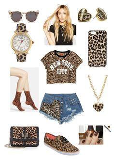 """Cheetah girls!!"" by hanniab ❤ liked on Polyvore featuring bellezza, H&M, Keds, Illesteva, ASOS, Kate Spade, Betsey Johnson, GUESS, HOT SOX e Christian Louboutin"