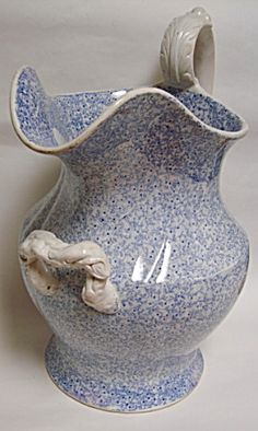 BLUE TRANSFER FOOTBATH JUG CHINTZ PATTERN (Image1) Mugs And Jugs, Blue China, Tiny Flowers, Merlin, Perfect Match, Blue And White, Antiques, Pattern, Color