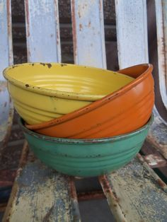 Set of Three Vintage Metal Enamel Bowls