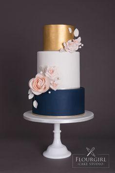 Wedding Cakes Navy gold and blush wedding cake