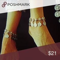 Vintage Boho Silver Coin Anklet  Z001 Vintage Boho Beachy Anklet  Contains 1 Anklet Summer Beach Ankle Chain Gypsy Jewelry Ideal Jewelry Bracelets