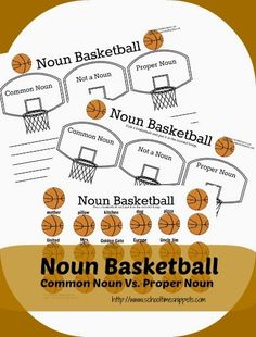 """Common Noun vs. Proper Noun Basketball {Free Printable  The object of the """"game"""" is to sort the noun labeled basketballs in the correct hoop.  There are two sorting sheets that you can choose from: one has your child/ student write the correct answer under the hoop and the other does not.  I didn't know which you would prefer, so I made both!"""