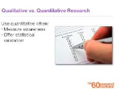 Qualitative vs. Quantitative explanation for marketers.  A one-minute tip format, kind of like a daily vitamin for junior academics. (222)