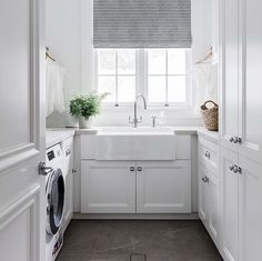 Keeping Clean Lines with this Minimalist Designed Laundry Room. All White Paint Scheme with the Natural Window Light Changes the Outlook on Doing Laun… – Laundry Room Laundry Room Design, Laundry In Bathroom, Laundry Rooms, Laundry Closet, Small Laundry, Interior Design Living Room, Living Room Designs, Utility Room Designs, Laundry Room Inspiration