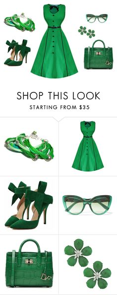 """""""Go Green"""" by blissfulvine ❤ liked on Polyvore featuring Dolce&Gabbana, Diane Von Furstenberg, Siman Tu and vintage"""