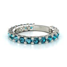 14K White Gold Ring with London Blue Topaz | Deneb Band (3mm gems) | Gemvara