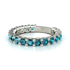 14K White Gold Ring with London Blue Topaz | Deneb Band (3mm gems) | Gemvara