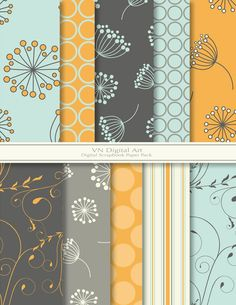 "Dandelion Digital Scrapbook Paper Pack (8.5x11""-300 dpi) -- 10 Digital papers -- 278. $3.00, via Etsy."