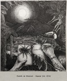 """Author: Rodolfo de Miremont Title: """"Esperar"""" Technique: Ink on paper Size: 13x13 cm From the period of the Amazon Forest"""