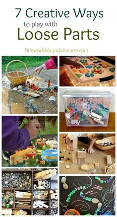 7 Creative Ways to Play with Loose Parts - Little Worlds - EC - Loose parts - Be inspired to try a new way of playing with loose parts today. 7 favourite activities for kids! Play Based Learning, Learning Through Play, Learning Activities, Preschool Activities, Preschool Curriculum, Summer Activities, Family Activities, Reggio Classroom, Outdoor Classroom