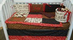 Handmade gifts 3 piece Rodeo, Western, Cowboy Crib Baby Bedding set, Handmade…