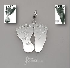 Sterling silver charm using your own babies'  footprints! With regular, pandora-style or clip on attachment. Order from our website at http://www.formiadesign.com/product/charm/