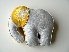 Elephant Pillow Yellow and Grey