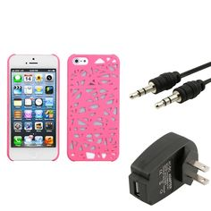 Insten Wall Charger/ Audio Cable/ Pink Phone Case Cover for Apple iPhone 5, #1160166