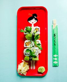 """Made with love by Cecilie, nyotaimori sushi tray! """"Nyotaimori (Japanese: 女体盛り, """"female body presentation""""), often referred to as """"body sushi"""", is the practice of serving sashimi or sushi from the body of a woman, typically naked."""""""