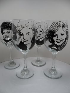Golden Girls Painted Wine Glasses Hand Painted by RealGlassAct, $88.00 I know exactly who I am going to buy this for!