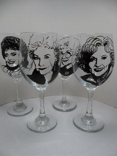 Golden Girls, Painted Wine Glasses, Hand Painted Glasses. $88.00, via Etsy.