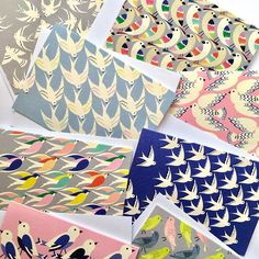 Bird print designs by Elvira Van Vredenburgh #pattern #greetingcard #conversational