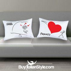 Rendi divertente la tua stanza da letto con la coppia di federe personalizzabile con cuore. Un simpatico design che renderà la tua biancheria da letto inimitabile poichè personalizzabile con i vostri nomi. Scoprilo qui--->http://www.buyitalianstyle.com/x-il-tuo-amore/2761-coppia-federe-per-guanciale-personalizzabili-cuore-.html