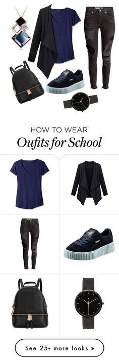 """Simple school day"" by frederiquecuyk on Polyvore featuring LAmade, Puma, Michael Kors, I Love Ugly, women's clothing, women, female, woman, misses and juniors"