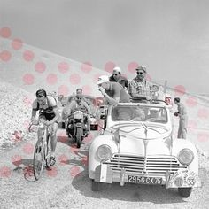The Polka Dot jersey (Pois Rouges) is awarded to the Tour's 'King of the Mountains'. A limited edition series of nine prints has been created for the LE TOUR show, these featuring some of the famous climbs, and the duels which were played out on their hallowed slopes - 18th July 1955.  Tour de France. Stage 11 - Marseille to Avignon.  Louison Bobet on Mont Ventoux, with Peugeot Directeur Sportif Marcel Bidot.