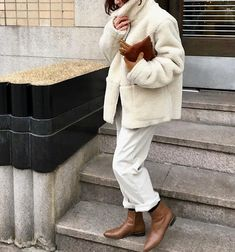 Shearling Jacket + Brown boots