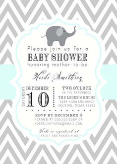 PRINTABLE Gray and Mint Green Elephant Baby Shower, Bridal Shower, Birthday, etc Invitation - colors can be changed. $15.00, via Etsy.