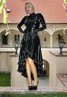 100% Latex Rubber Gummi Gothic Long Dress Skirt Catsuit Suit Party Wear Unique in Kleidung & Accessoires, Damenmode, Damenunterwäsche | eBay