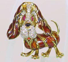 10: 18K Gold Diamond Ruby Enamel Dog Pin : Lot 10